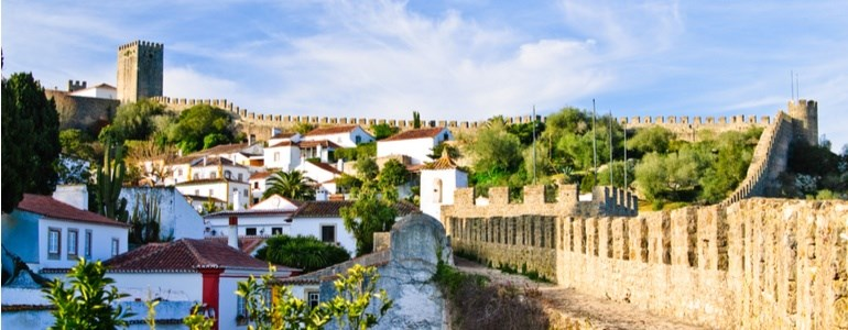 Óbidos Castle and Christmas Town, car hire in Portugal